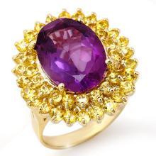 14K Yellow Gold Jewelry 10.25 ctw Yellow Sapphire & Amethyst Ring - SKU#U58U7- 1997-14K