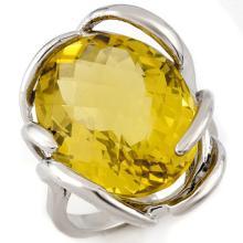 10K White Gold Jewelry 20 ctw Lemon Topaz Ring - SKU#U38A2- 1447- 10K