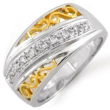 10K 2Tone Gold Jewelry 0.17 ctw Diamond Anniversary Ring - SKU#U19B1- 1483- 10K