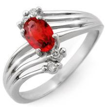 14K White Gold Jewelry 0.80 ctw Red Sapphire & Diamond Ring - SKU#U18J4- 1198-14K