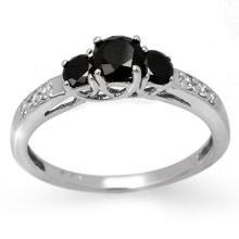 10K White Gold Jewelry 0.80 ctw White & Black Diamond Bridal Ring - SKU#U17Z2- 90808- 10K