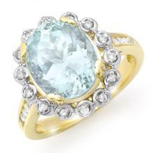 18K Yellow Gold Jewelry 5.33 ctw Aquamarine & Diamond Ring - SKU#U84Z4- 99804- 18K