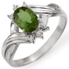 14K White Gold Jewelry 0.79 ctw Green Tourmaline & Diamond Ring - SKU#U12R9- 1907-14K