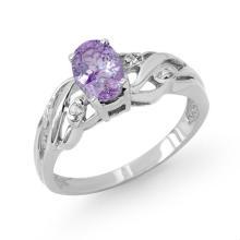 18K White Gold Jewelry 0.72ct Tanzanite & Diamond Ring - SKU#U20V5- 99089- 18K