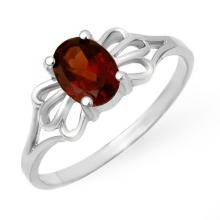 18K White Gold Jewelry 1.0 ctw Garnet Ring - SKU#U11J1- 90001- 18K