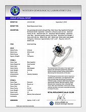 Natural 0.60 ctw Blue Sapphire & Diamond Ring 18K White Gold - 11134-#33Y2V