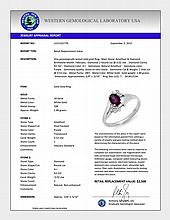 Natural 0.55 ctw Amethyst & Diamond Ring 18K White Gold - 12534-#25R2H