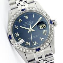 Rolex Men's Stainless Steel, QuickSet, Roman Dial Diam/Sapphire Bezel - REF#425F5W