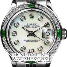 Rolex Ladies Stainless Steel, Diam Dial & Diam/Emerald Bezel, Saph Crystal - REF#349G3R