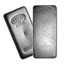 One piece 1 kilo 0.999 Fine Silver Bar Johnson Matthey