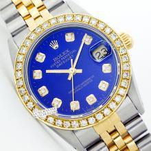 Rolex Ladies 2Tone 14K Gold/ Stainless Steel, Diamond Dial & Diamond Bezel, Saph Crystal - REF#321Z8F