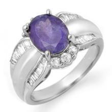Genuine 3.52 ctw Tanzanite & Diamond Ring 18K White Gold - 14459-#122T2Z