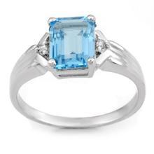 Genuine 2.03 ctw Blue Topaz & Diamond Ring 10K White Gold - 11067-#14F8M