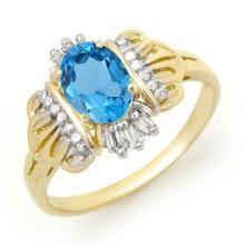 Genuine 0.97 ctw Blue Topaz & Diamond Ring 10K Yellow Gold - 12373-#16M8G