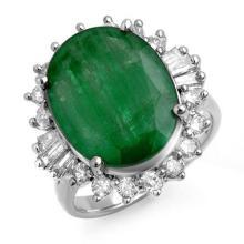 Genuine 10.07 ctw Emerald & Diamond Ring 18K White Gold - 13217-#124A7N
