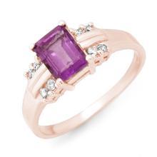 Genuine 1.41 ctw Amethyst & Diamond Ring 18K Rose Gold - 13557-#32A3N