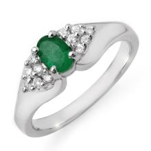 Genuine 0.63 ctw Emerald & Diamond Ring 18K White Gold - 12539-#46Y2V