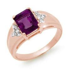 Genuine 1.45 ctw Amethyst & Diamond Ring 10K Rose Gold - 12853-#25V8A