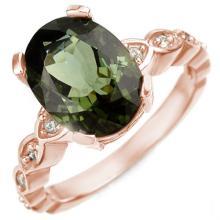 Natural 4.25 ctw Green Tourmaline & Diamond Ring 10K Rose Gold - 10034-#56P2X