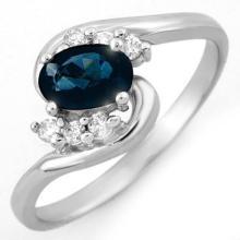 Genuine 0.70 ctw Blue Sapphire & Diamond Ring 18K White Gold - 10595-#29K2T