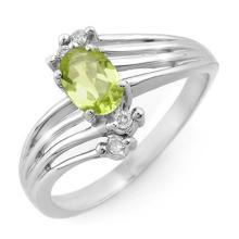 Natural 0.55 ctw Peridot & Diamond Ring 10K White Gold - 13436-#19P2X