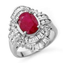 Genuine 4.58 ctw Ruby & Diamond Ring 18K White Gold - 13089-#125R7H
