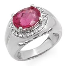 Genuine 3.83 ctw Pink Tourmaline & Diamond Ring 10K White Gold - 10139-#74X8Y
