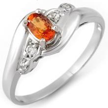 Natural 0.42 ctw Orange Sapphire & Diamond Ring 10K White Gold - 10888-#15N3F