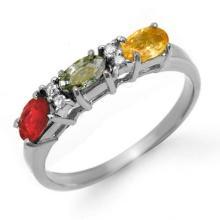 Natural 1.10 ctw Multi-Sapphire & Diamond Ring 18K White Gold - 13660-#32X3Y