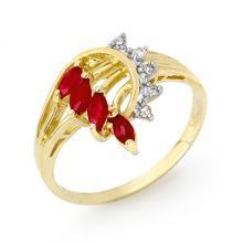 Genuine 0.55 ctw Ruby & Diamond Ring 14K Yellow Gold - 12947-#26Z2P