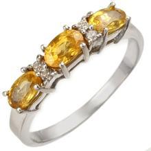Genuine 1.33 ctw Yellow Sapphire & Diamond Ring 18K White Gold - 10757-#36F5M