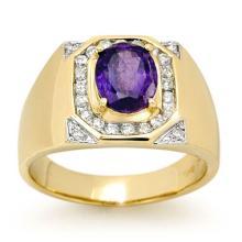 Natural 3.10 ctw Tanzanite & Diamond Men's Ring 14K Yellow Gold - 13480-#109X5Y