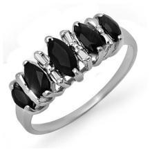 Genuine 1.02 ctw Blue Sapphire Ring 18K White Gold - 12665-#28T3Z