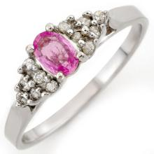 Natural 0.50 ctw Pink Sapphire & Diamond Ring 10K White Gold - 10288-#17X5Y