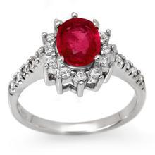 Genuine 2.45 ctw Pink Sapphire & Diamond Ring 14K White Gold - 13509-#70R3H