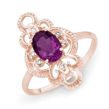 Genuine 0.80 ctw Amethyst & Diamond Ring 14K Rose Gold - 12569-#20P5X