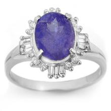 Natural 3.03 ctw Tanzanite & Diamond Ring 18K White Gold - 14462-#71Y2V