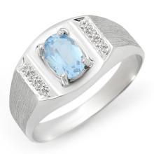 Natural 2.0 ctw Blue Topaz Men's Ring 10K White Gold - 12340-#18G5R