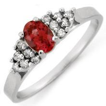 Natural 0.60 ctw Pink Tourmaline & Diamond Ring 14K White Gold - 10902-#21R7H