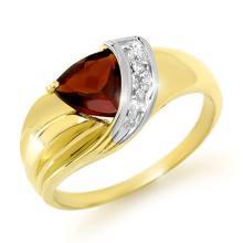 Genuine 1.28 ctw Garnet & Diamond Ring 10K Yellow Gold - 13169-#15K8T
