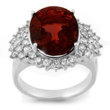Genuine 9.18 ctw Pink Tourmaline & Diamond Ring 18K White Gold - 10837-#162X2Y