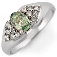 Genuine 0.90 ctw Green Sapphire & Diamond Ring 10K White Gold - 10741-#26N5F
