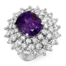 Natural 12.50 ctw Tanzanite & Diamond Ring 18K White Gold - 13428-#638Z3P