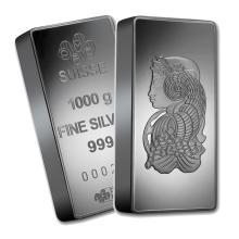 One piece 1 kilo 0.999 Fine Silver Bar PAMP Suisse Fortuna