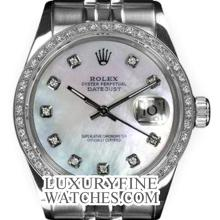 Rolex Men's Stainless Steel, QuickSet, Diamond Dial & Diamond Bezel - REF#458V2H