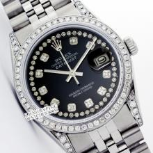 Rolex Men's Stainless Steel, QuickSet, Diamond Dial & Diamond Bezel - REF#485V5H