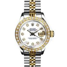 Rolex Ladies 2Tone 14K Gold/ Stainless Steel, Diamond Dial & Diamond Bezel, Saph Crystal - REF#321T8V