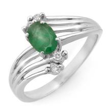 Natural 0.65 ctw Emerald & Diamond Ring 18K White Gold - 13164-#35R3H