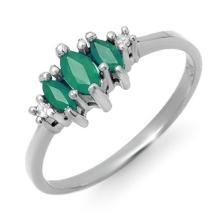 Natural 0.37 ctw Emerald & Diamond Ring 10K White Gold - 12562-#11Y2V