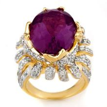 Natural 13.75 ctw Amethyst & Diamond Ring 14K Yellow Gold - 11568-#190T3Z